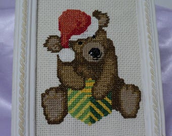 NEW, happy Christmas bear cross stitch Embroidery frame