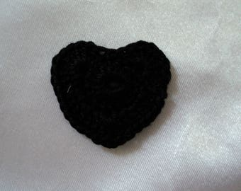 SET of 8 CROCHET for booking 3 cm hearts: black