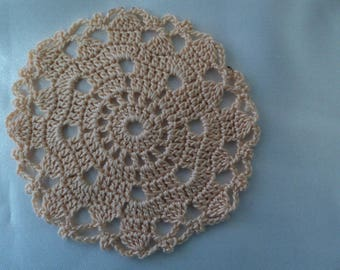 SET of 6 place mats or glass salmon coasters, hand made crochet