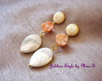 "Earrings ""Coral flower"" Golden jade earrings"