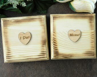 Set of 2 Rustic Ring Bearer Box, I Do Me Too Ring Bearer Pillows, Wood Heart Ring Box, Set of Two Ring Bearer Boxes, Rustic Ring Bearer Box