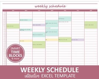 Elegant Weekly Schedule - Mauve | Weekly Planner Printable | Excel Planner Template | Weekly Schedule | Instant Digital Download