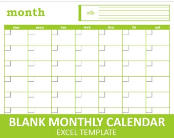 Blank Monthly Calendar - Green | Printable Excel Calendar Template | Monthly Calendar | Instant Digital Download