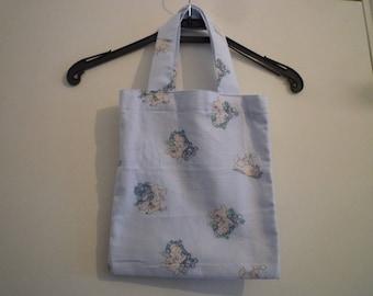 Bag handles, light blue 100% cotton fabric pigs patterns