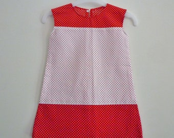 Red and white dress 18 months-2 years, red on white polka dots and patches on red polka dots