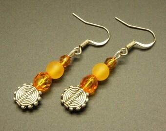 Frosted orange earrings