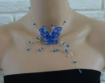 blue butterfly set with pearls wedding necklace