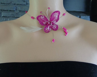 fuchsia feather butterfly necklace pearls wire hypoallergenic available on wedding