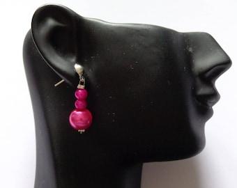 Earrings Fuchsia wedding pearls