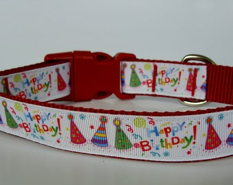 Happy Birthday Party Hat Dog Collar - Red - Ready to Ship!