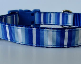 Blue Striped Beach Small Dog Collar - READY TO SHIP!