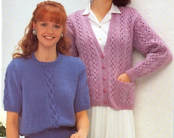 """ladies cable short sleeve sweater cardigan knitting pattern pdf womens jumper jacket larger sizes 36-50"""" DK lt worsted 8ply instant download"""