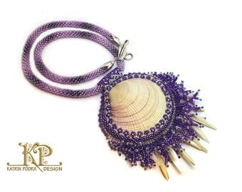 Purple bead embroidered necklace with natural seashell pendant,