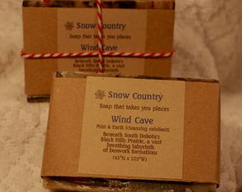 Price Drop! Holiday Scents:  Mint, Clove, Chamomile, Exfoliant, Handmade Soap--Wind Cave