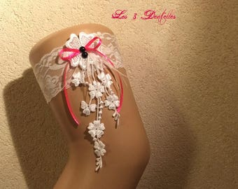 Fuchsia and white lace wedding garter * flower rhinestone lace feather * custom