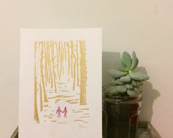 Couple walking through the forest mini print ACEO - anniversary art