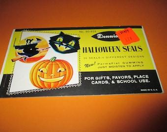 Vintage Dennison Halloween Seals, Halloween stickers. 1960's, witch sticker, cat, pumpkin, JOL, Halloween ephemera,