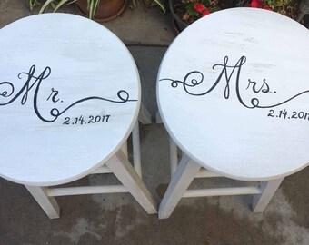 hand painted bar stools, mr. and mrs. bar stools wedding gifts, custom bar stools