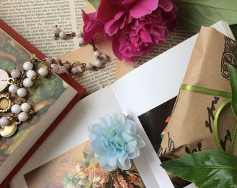 Silk flower blue ' Petals&Poems' brooch