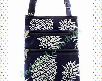 Pineapple 3 Zipper Messenger Bag