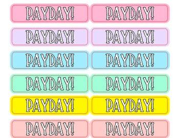 Payday Planner Stickers 72 piece set , Journals , Calendar , reminder , Labels , Money , Cash