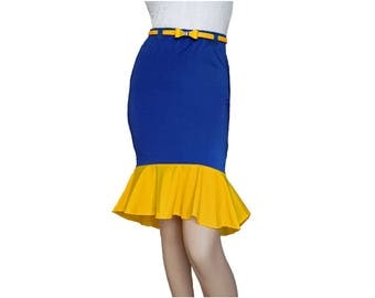 Navy + Yellow Mermaid Skirt