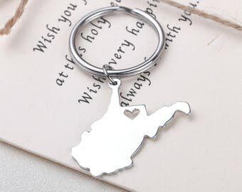 I heart West Virginia keychain - West Virginia keyring - Map Jewelry - State Charm - Map keychain