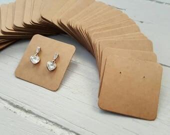 100 kraft jewelry display cards BROWN 5x5cm