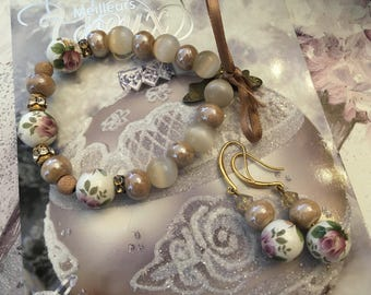 romantic set beige nude Japanese beads