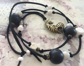black and white ethnic sautoir necklace