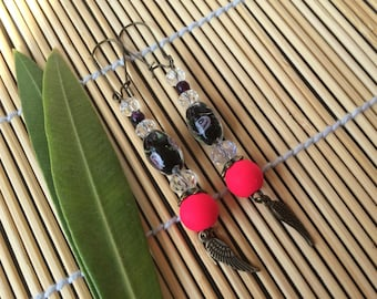 Earrings romantic pink neon beads and bronze metal