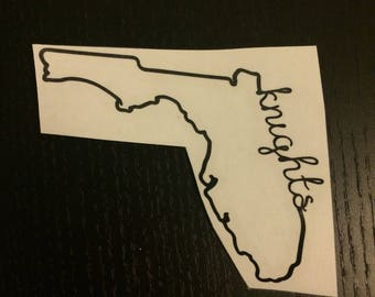 Custom Vinyl Decal   Florida Outline with Knights Script   University of Central Florida, UCF