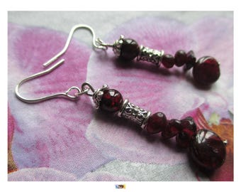 "Dangle earrings Tibetan Silver ""Beads Garnet"""