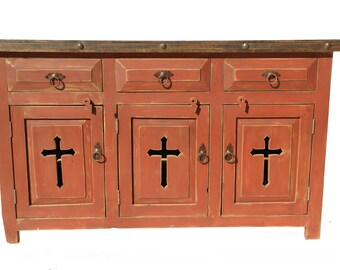 Rustic Red Wash Bathroom Vanity/ Buffet Cabinet