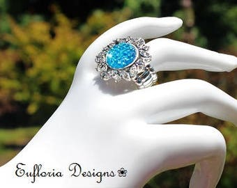 Druzy Ring, Blue Druzy Ring Silver, Unique Crystal Stretch Ring, Evening Dress Ring, Bridal Jewelry, Drusy Ring, Womans Ring, Something Blue