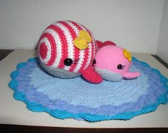 Whale and its small crochet doily