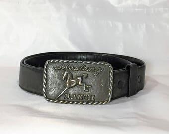 Vintage Mustang Ranch Belt Buckle and Leather Secret Money compartment Belt, Size 33-36