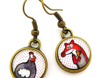 The Fox and the chick cabochons earrings