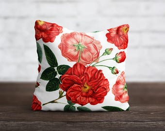 Flower PillowCase Red Throw Pillow Cover Luxury Pillow Toss Silk Pillow Case Cute Floral Cushion Satin PillowCase Sofa Home Decor Mom Gift