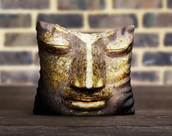 Gold Buddha PillowCase Yoga Pillow Cover Luxury Pillow Case Toss Pillow Silk Pillow Cover Cushion Satin Throw Pillow Cover Modern Home Decor