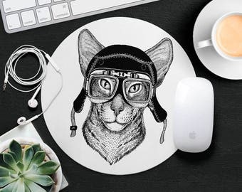 Cat Mouse Pad Animal in Glasses Cute Mouse Mat Funny Mouse Pad Girl Round MousePad Hipster Mouse Mat Desk Accessories Animal Lover Gift iDea