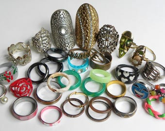 35 piece ring lot, vintage ring lot, vintage to now ring lot, vintage jewelry lot, stretch ring lot, adjustable ring lot, huge ring lot