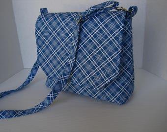 Handbag, Cross Body, Blue and White Plaid, Messenger Bag, Fabric Bag, Handmade, Woman's Accessories, Fabric Purse