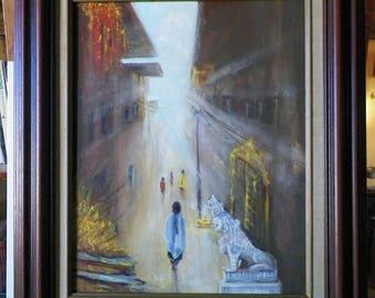 "Original painting PAKNAJOL STREET street of Paknajol oil painting and natural pigments on the theme ""Kathmandu"" by Alain Bongiorno"