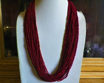 Nepalese ethnic Tharu necklace ,multi-rows, 28 row, red coral color in glass paste