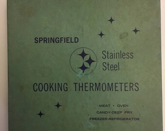 Springfield Stainless Steel Cooking Thermometers Meat, Oven, Candy- Deep Fry  In Original Box 1960's