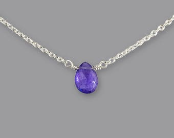 Tanzanite Necklace - Wife Blue Gift - Blue Necklace Ideas - December Birthstone Necklace - Tiny Gemstone Choker Necklace