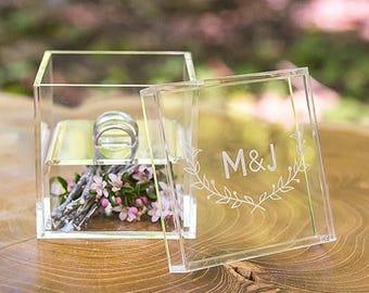 Perspex Acrylic Personalised Wedding Ring Box, Woodland Detail, Keepsake Wedding Gift, Trinket Box