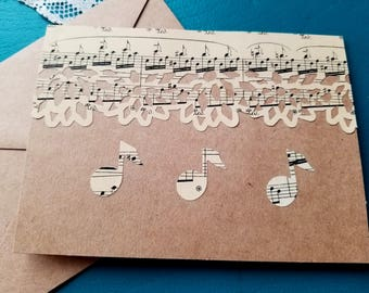 Sheet Music and Music Note Cards, Blank Note Cards, Music Note Cards, Musician Gift, Music Notes, Set of Four, MarjorieMae
