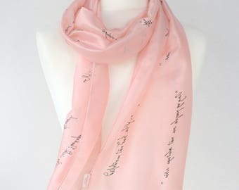 Pride and Prejudice Gift Jane Austen Quotes Literary Book Scarf, Hand Painted Gift-Wrapped, READY to Ship, more color avaliable